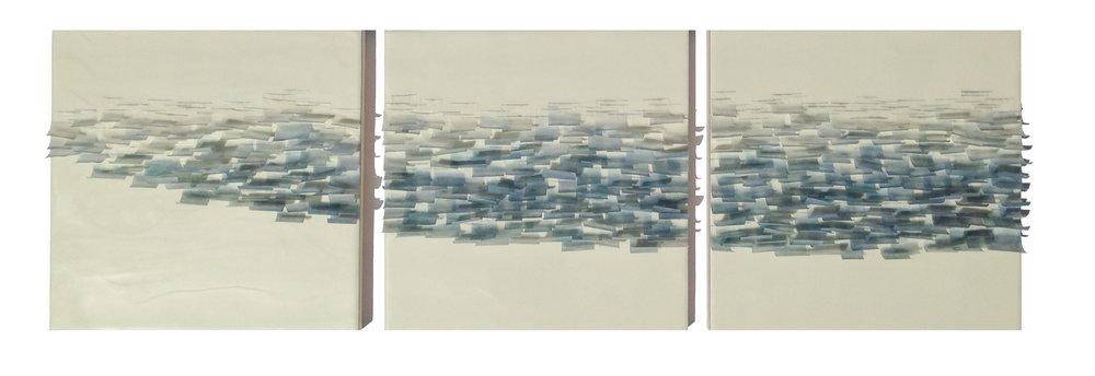 "Flutter 5, 2014 36"" x 12""x 1"" Encaustic, Mulberry Paper, Watercolor SOLD"