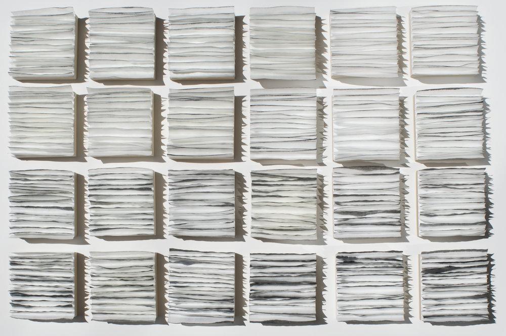 "Waters Edge, 2016 35"" x 23""x 1"" Encaustic, Mulberry Paper, Watercolor"