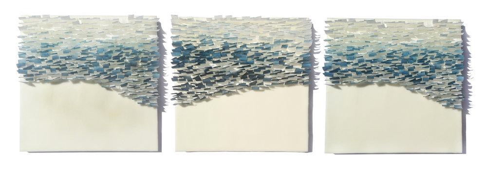 "Flutter, 2014 36"" x 12""x 1"" Encaustic, Mulberry Paper, Watercolor SOLD"