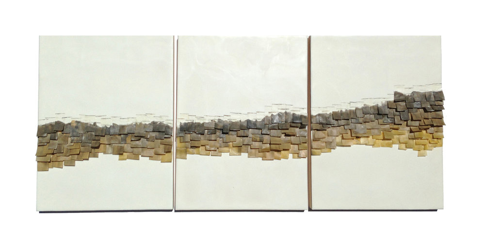 """Draught, 2014 Encaustic, Mulberry Paper, Watercolor 36"""" x 16""""x 1"""" SOLD"""
