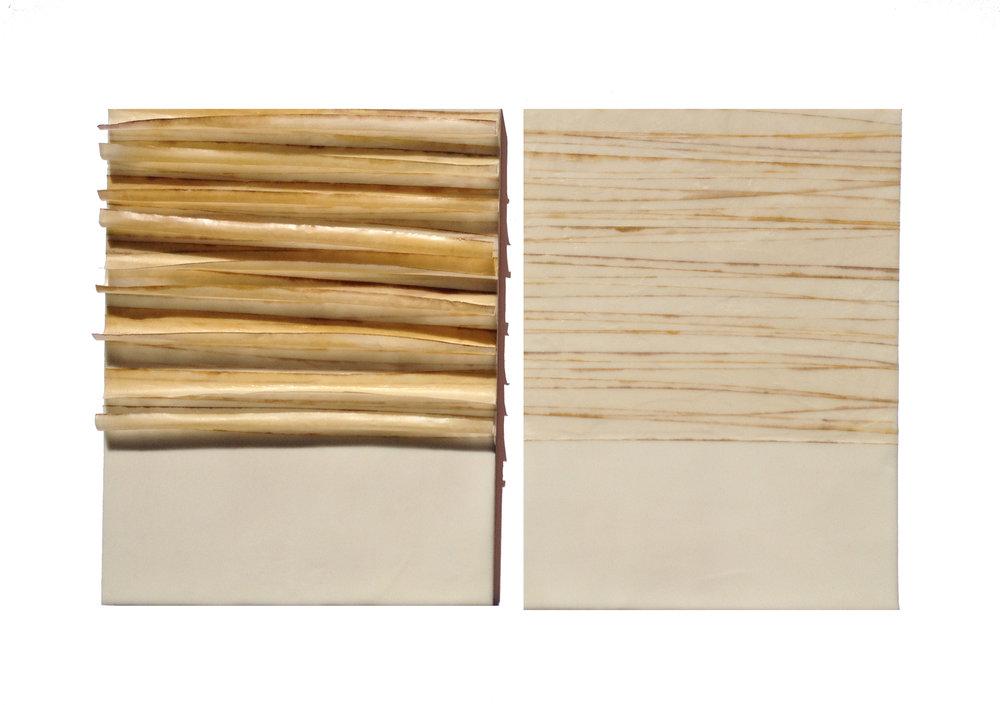 "Veneer, 2014 Encaustic, Mulberry Paper, Watercolor 24"" x 16""x 1"""