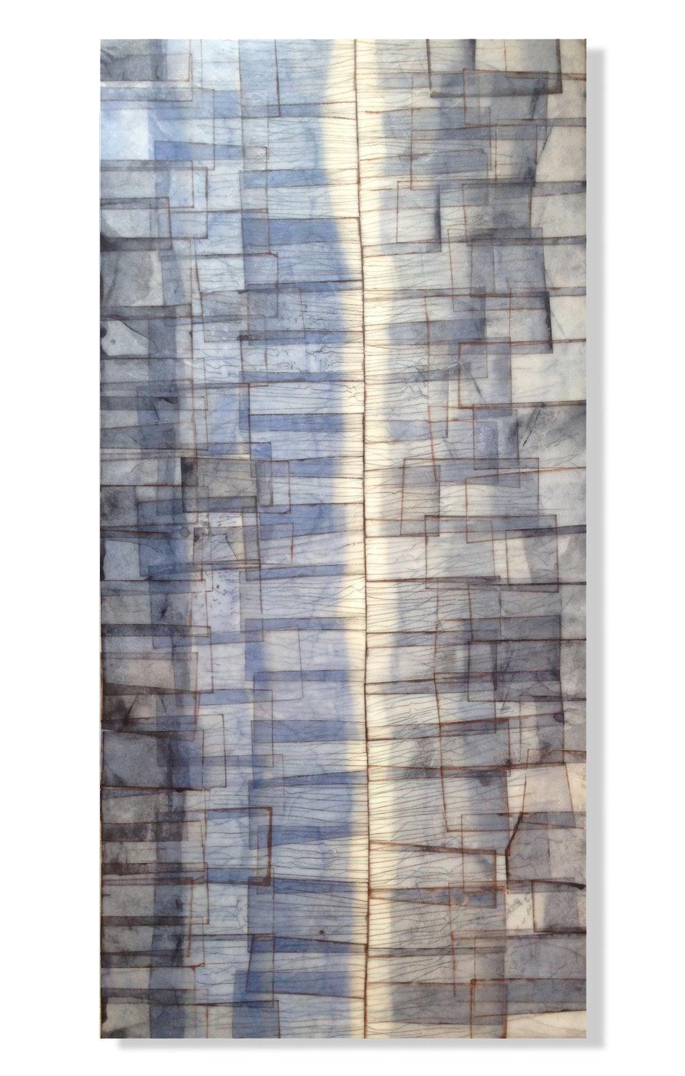 """Divide, 2015 12"""" x 24""""x 2"""" Encaustic, Mulberry Paper, Watercolor"""