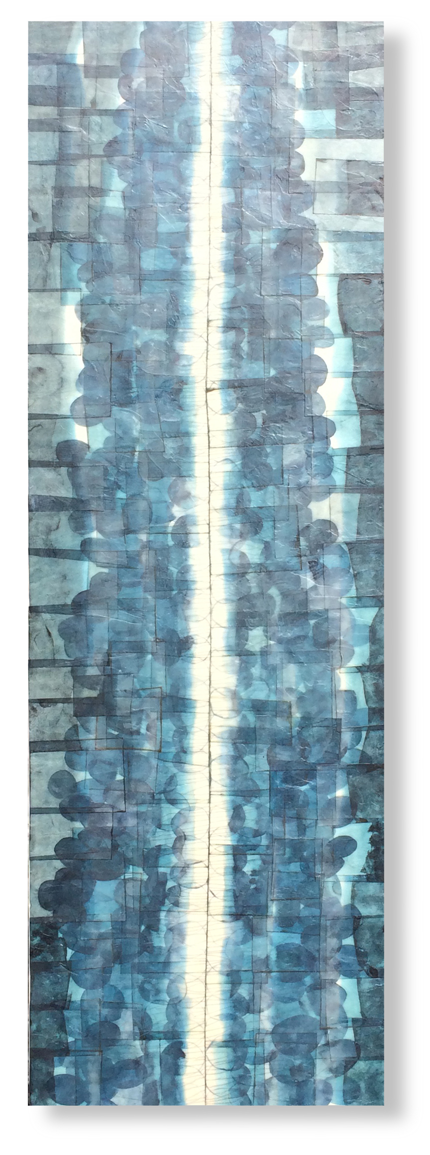 """Coming up for Air, 2015 12"""" x 36""""x 2"""" Encaustic, Mulberry Paper, Watercolor"""