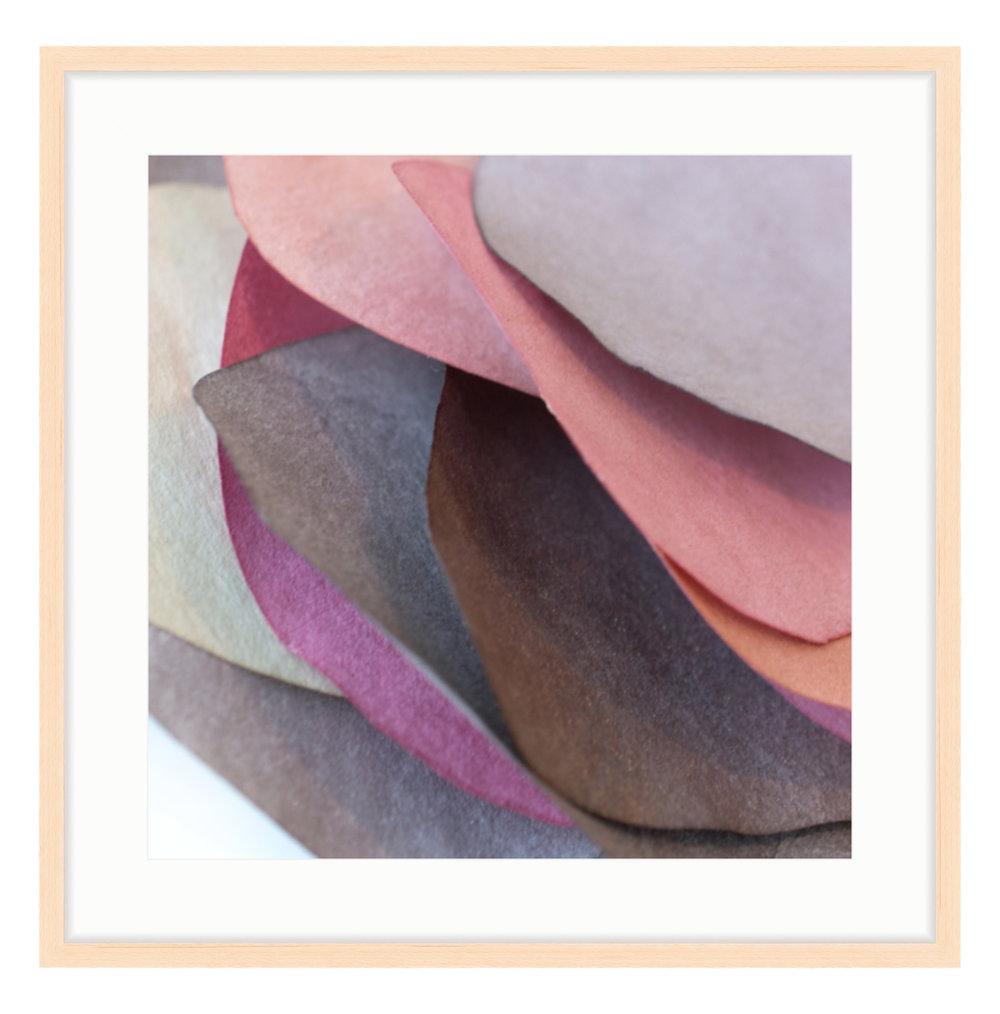 """Paper Petal 7, 2017 20"""" x 20"""" (other sizes available) Photograph of Mulberry Paper, Wax, Watercolor"""