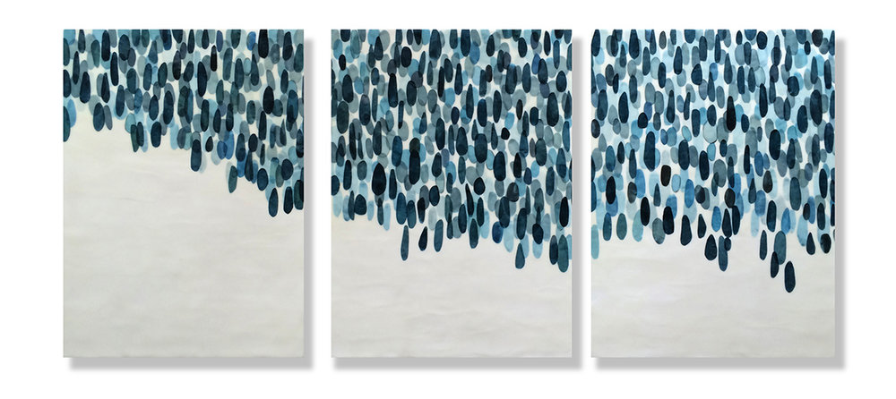 "And the Rain Came Down, 2016 Encaustic, Mulberry Paper, Watercolor 51"" x 24"" x 1.5"" SOLD"