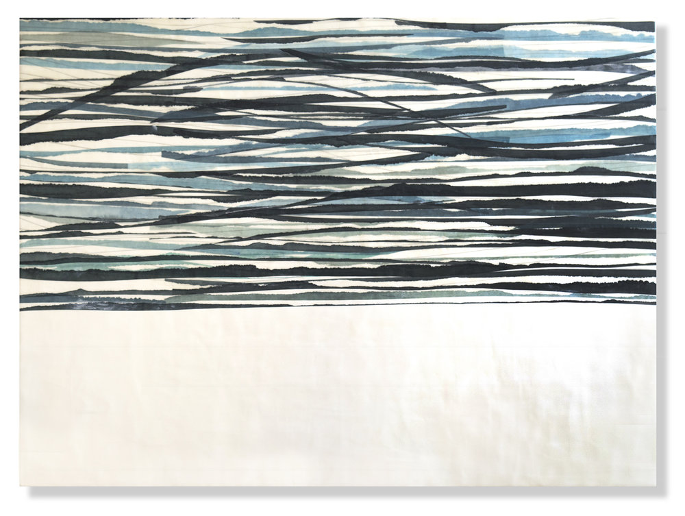 Swell 3, 2017 Encaustic, Mulberry Paper, Watercolor 4' x 3'  SOLD
