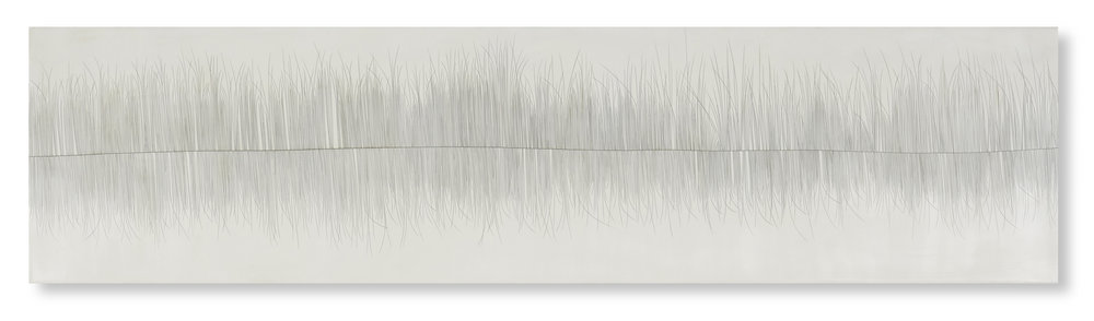 "Threadline 11, 2017 Encaustic, Oil 48"" x 12"" x .75"" (can hang vertically or horizontally)"