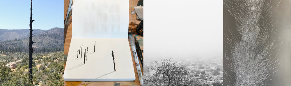 Ferguson Fire, Sketchbook, Bernal Hill Fog, Encaustic and Oil Test Panel