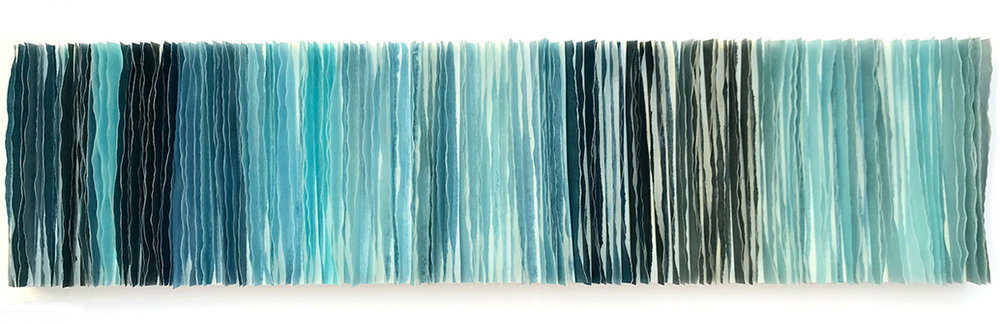 """Waters Edge 9, 2018 Encaustic, Mulberry Paper, Watercolor 12"""" x 48"""" x 2"""" Commission for Sutter Health CPMC"""