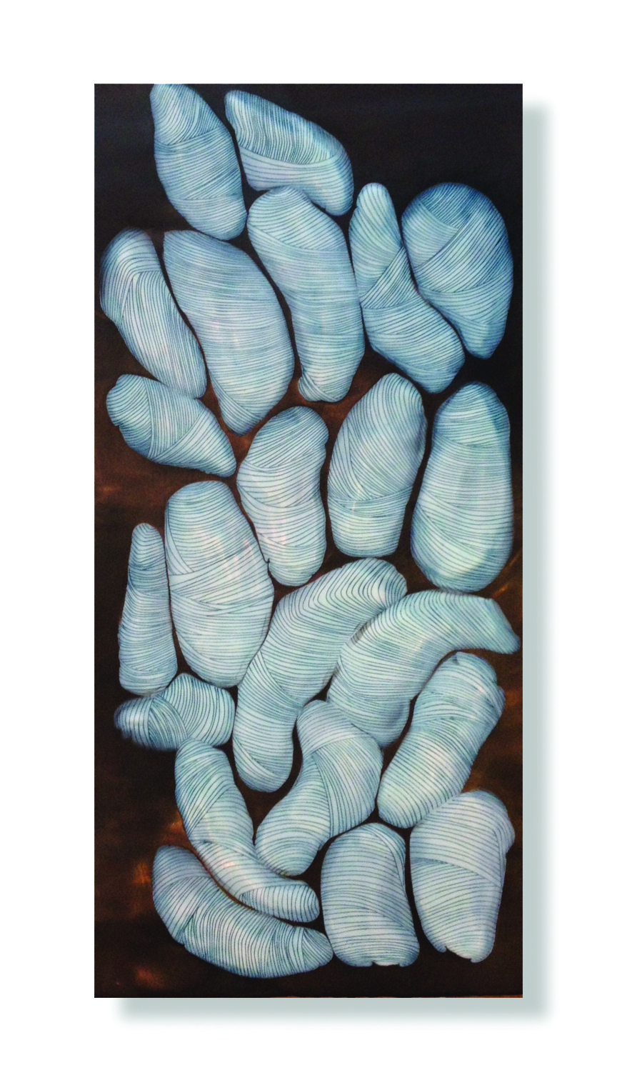 "Bundle Theory, 2015 Encaustic, Oil 12"" x 24"" x 2"" SOLD"