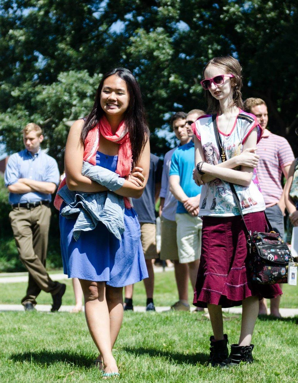 Alumni honoring Kathleen at a summer ceremony