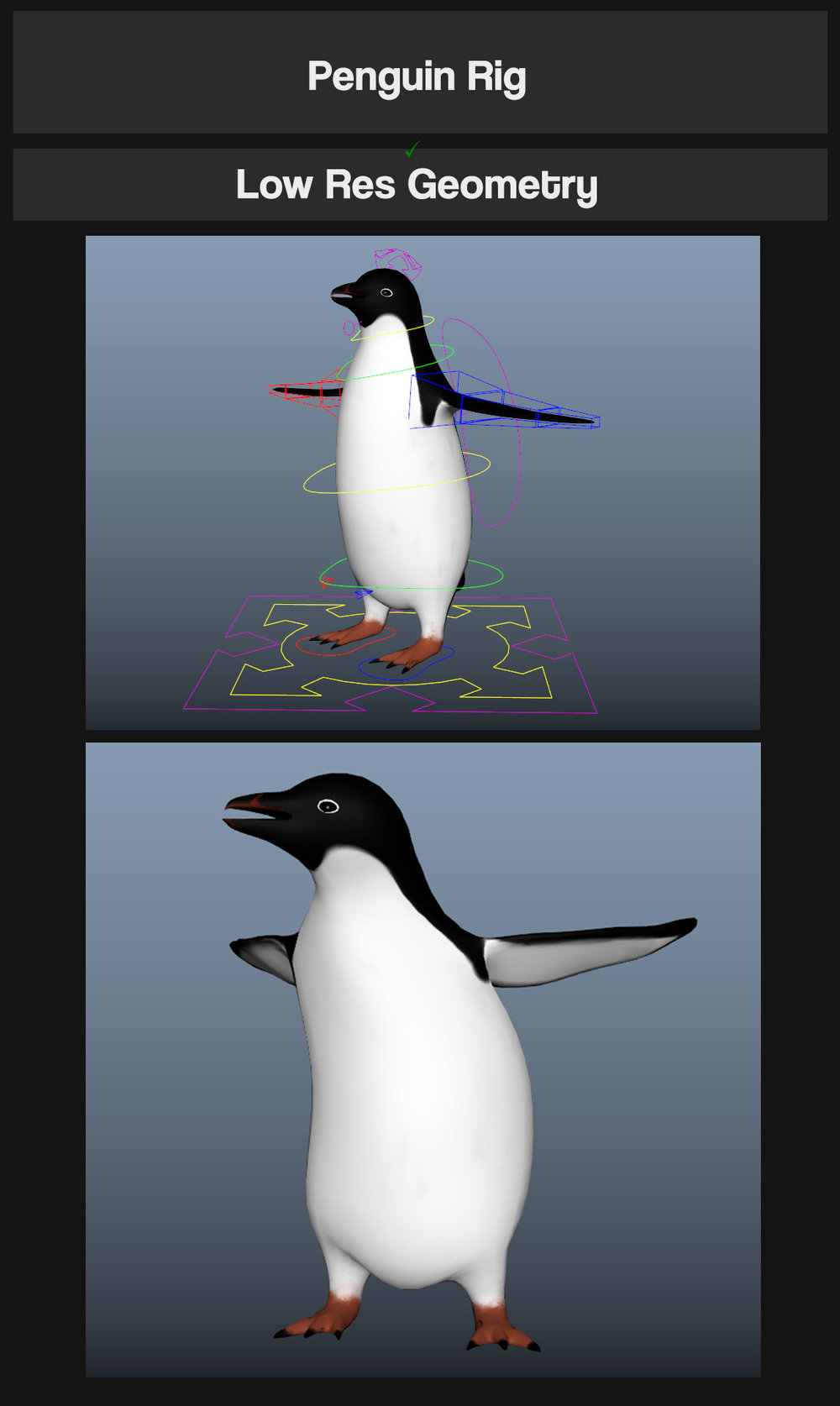 JT Penguin   After watching the making of Monty The Penguin by MPC i just had to have a go at making my own penguin rig! From my tests and moving the rig around, it's definitely good enough to create some decent animation!  I Hope you guys enjoy using it, and as always - please share your work with me so i can see my rigs in action! I'd love to see what people come up with!