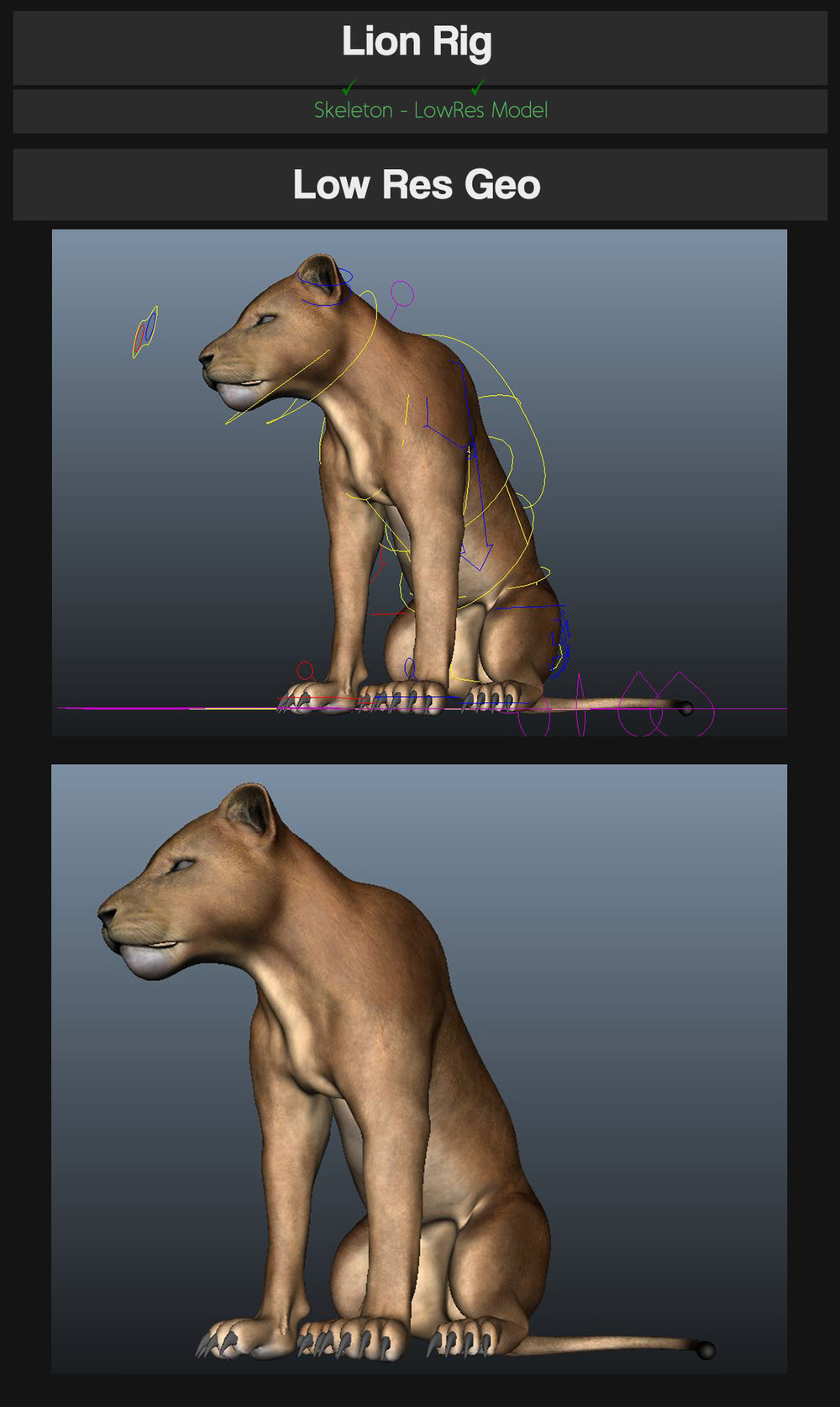 JT Lion   This is a decent realistic lion rig, cheap and animator friendly. DEMO of the Rig:  https://vimeo.com/141338061 https://www.youtube.com/watch?v=grjv1jZsqQs&feature=autoshare        *Features*   Rig is fully scaleable. ( Scale on the global CTRL, NOT the local control )   IK arms / legs.     Mouth control, with tongue rig inside.  Ribbon Spine  Skeleton / Low Res switch on Global CTRL.  Facial shapes (to be updated)  (snarl located on the head CTRL)  (eyeClose located on eye CTRL)