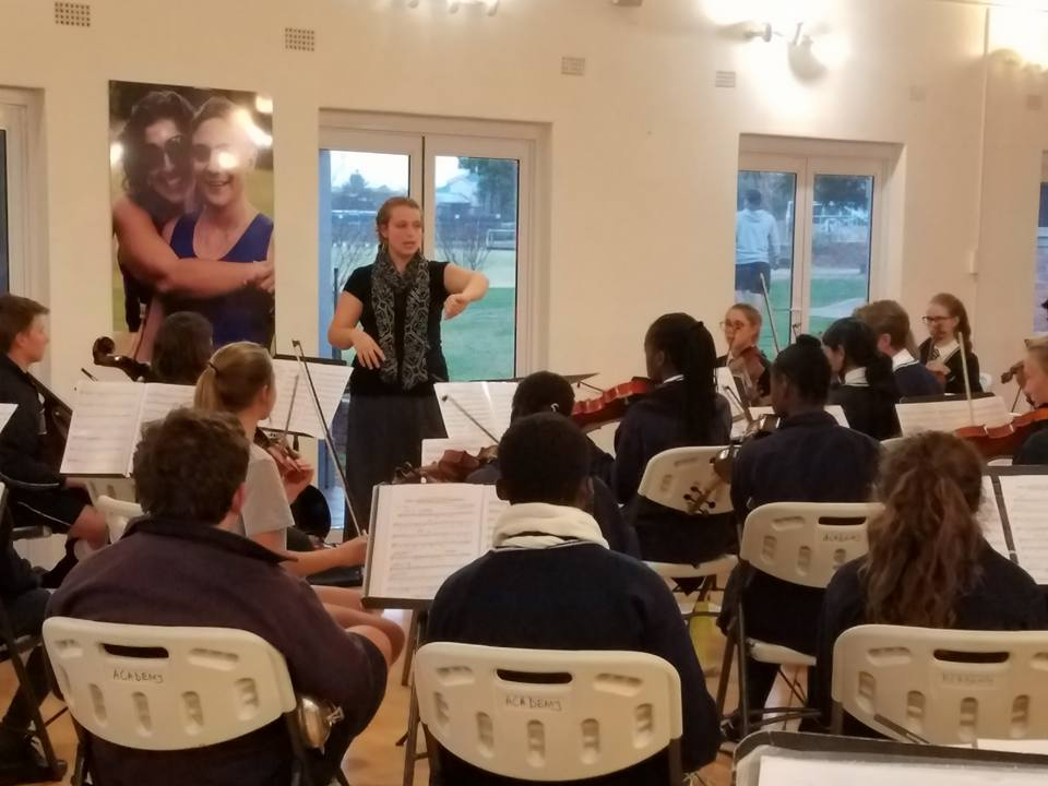 Bridget working with the youth orchestra of the Hellenic Academy in Harare, Zimbabwe 2016