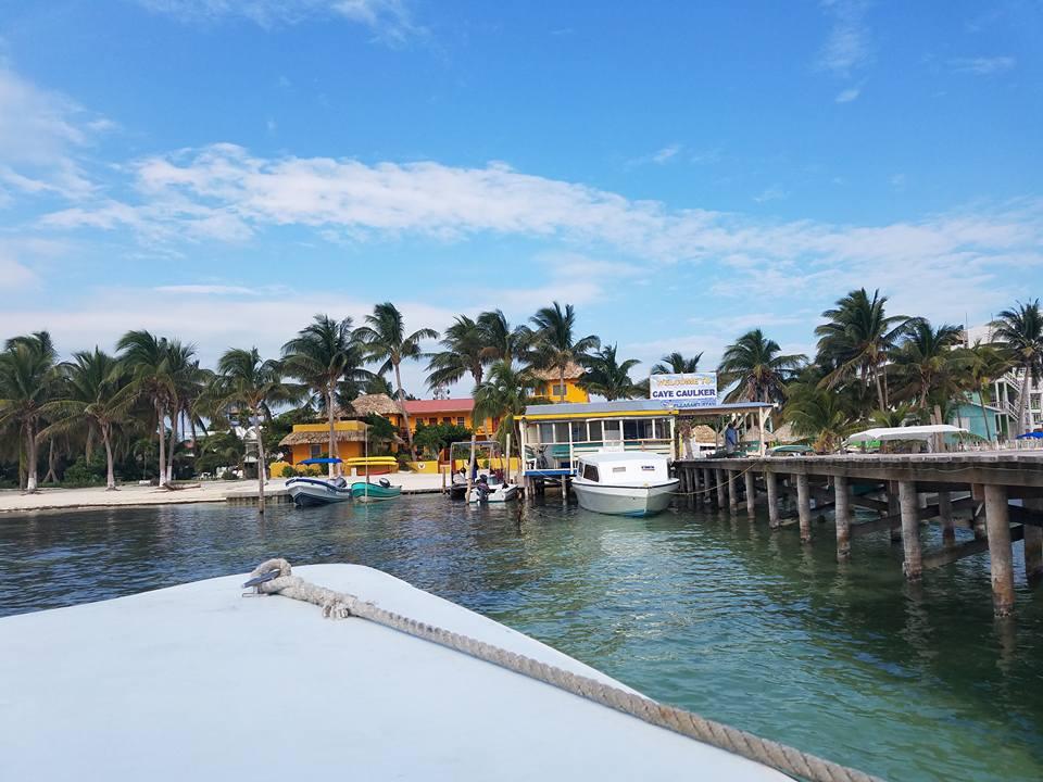approaching Caye Caulker Island