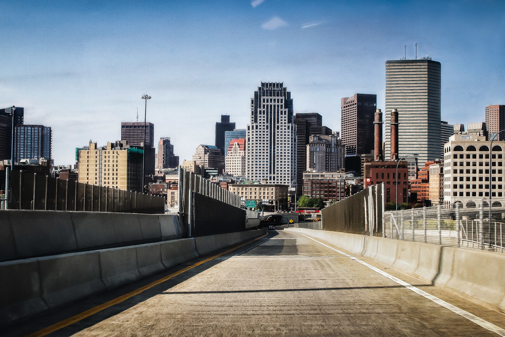 Empty Expressway Boston, Massachusetts