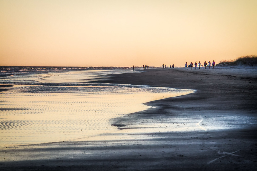 Beach Walkers At Low Tide Hilton Head, South Carolina