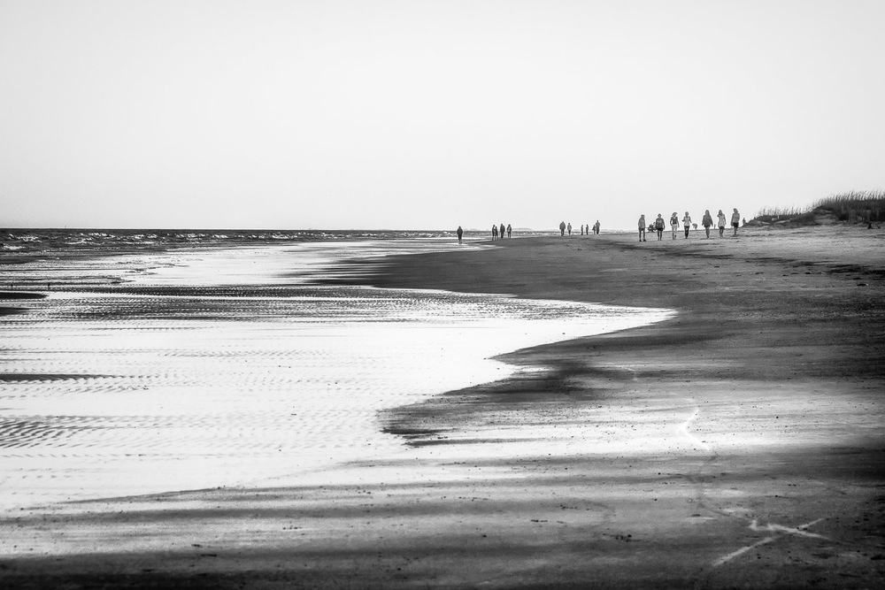 Walkers-On-Beach-At-Low-Tide-Hilton-Head-BW.jpg