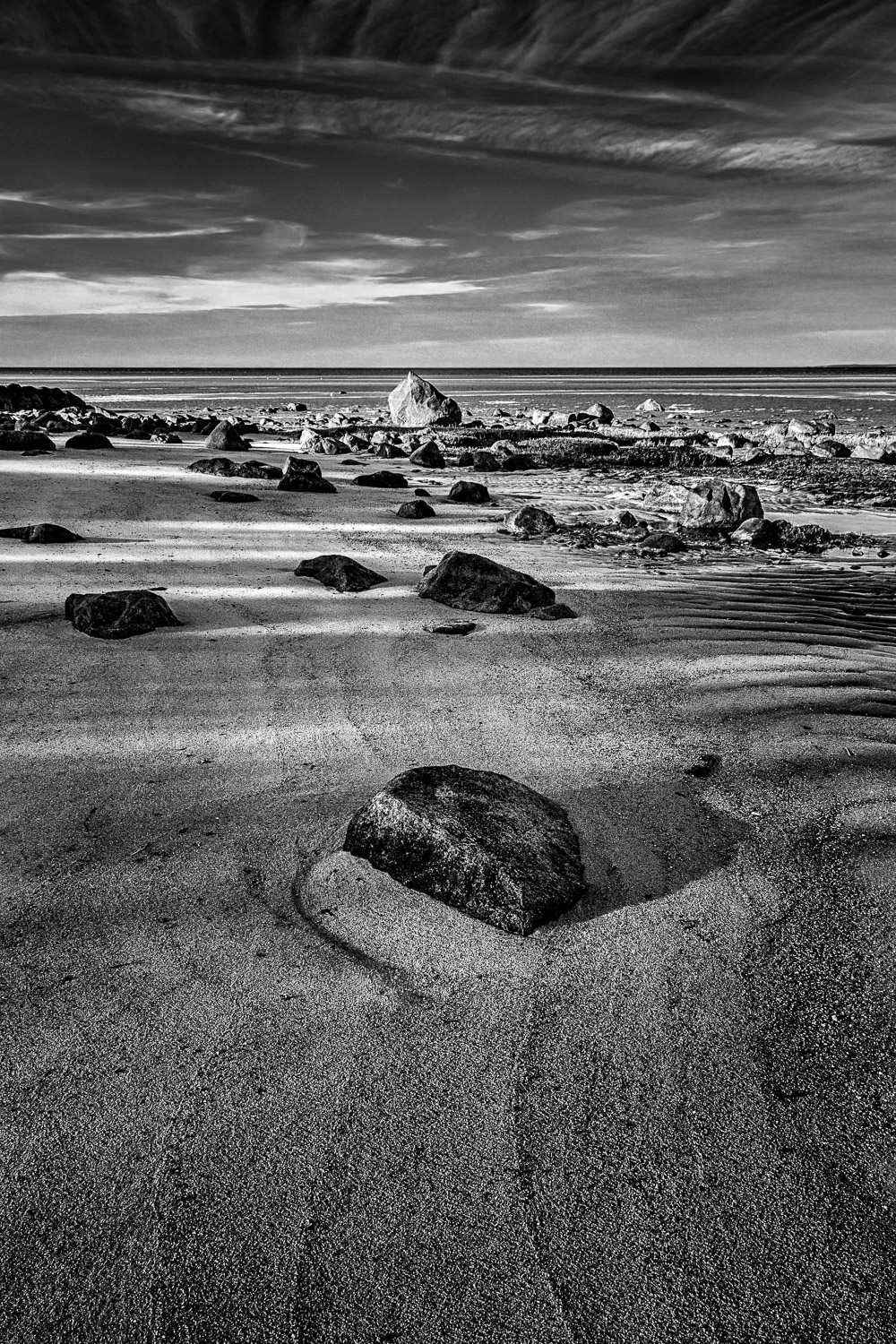 Beach-Rocks-At Sunset-Brewster-BW.jpg