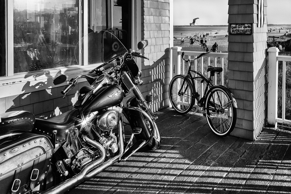Motorcycle_And-Bicycle-On-Porch-Old-Orchard-Beach-BW.jpg
