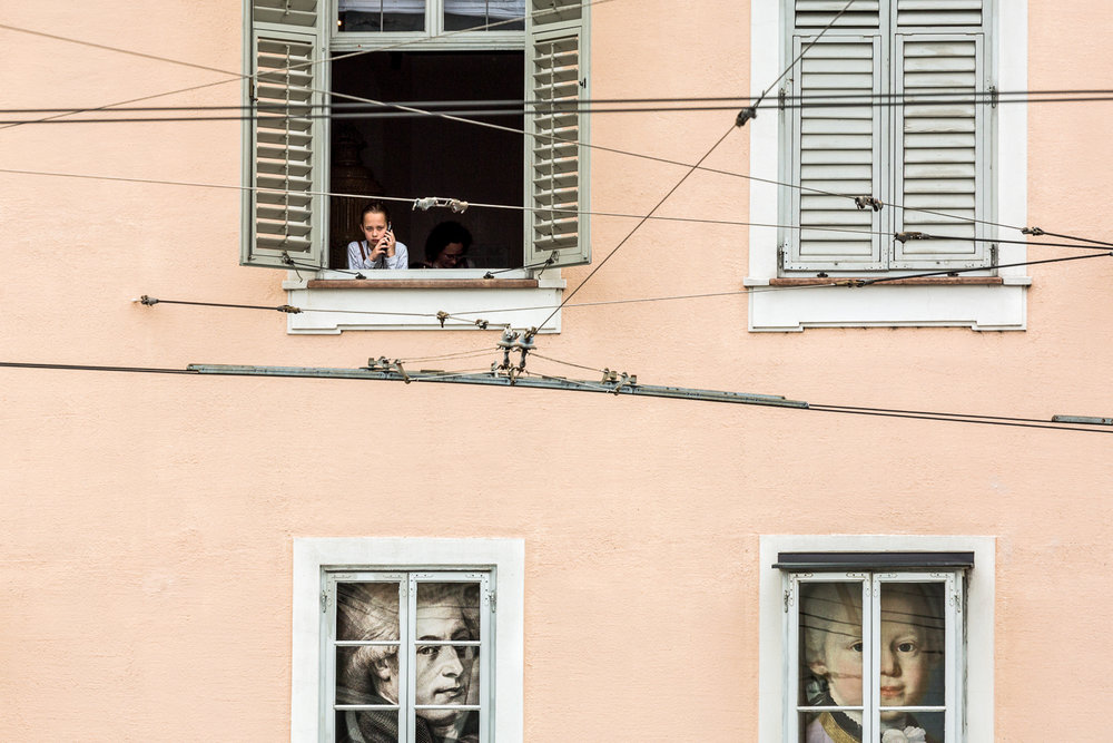 Girl In The Window Salzburg, Austria