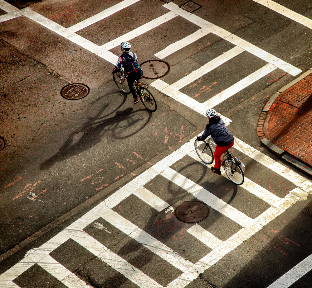 Bicyclists From Above Boston, Massachusetts