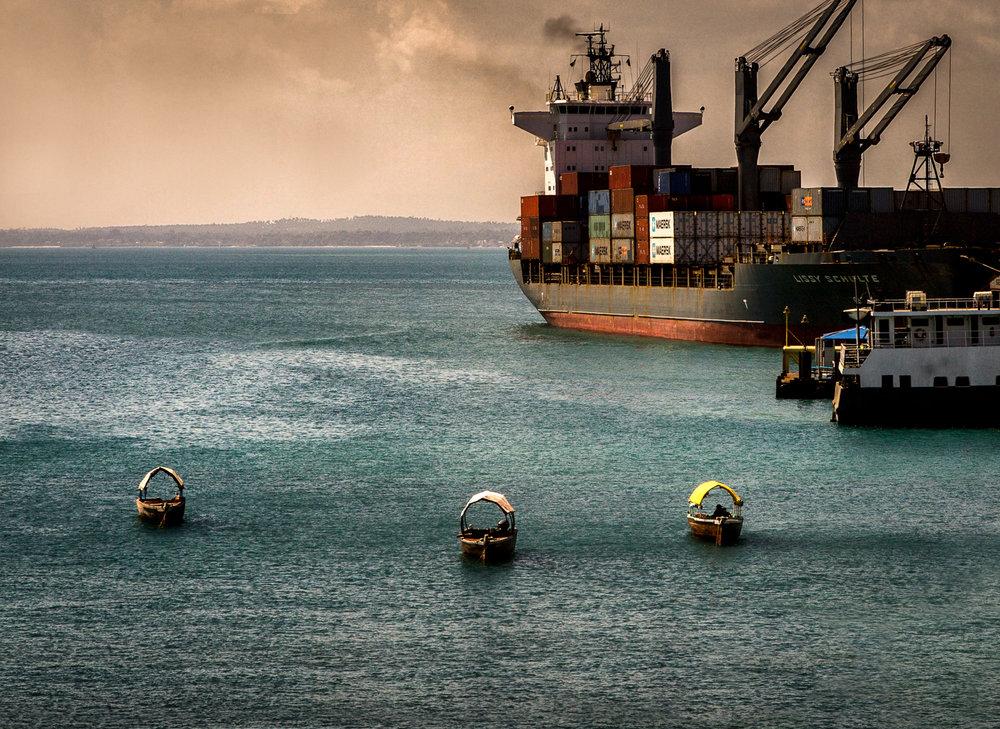 Sampans And Freighter Zanzibar, Tanzania