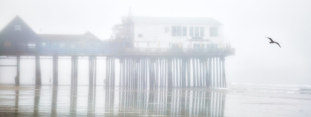 Pier In Fog Old Orchard Beach, Maine