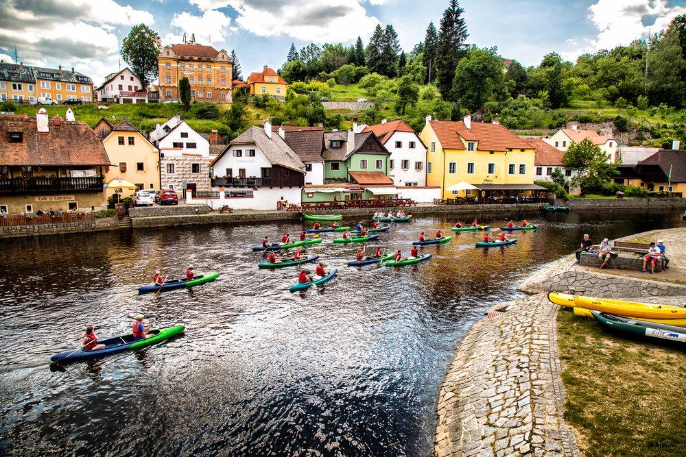 Canoes On The Vltava Cesky Krumlov, Czech Republic