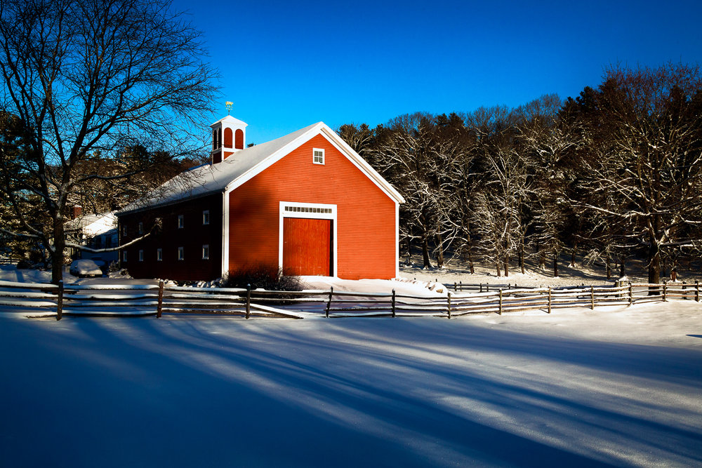 Red Barn And Shadows Sherborn, Massachusetts