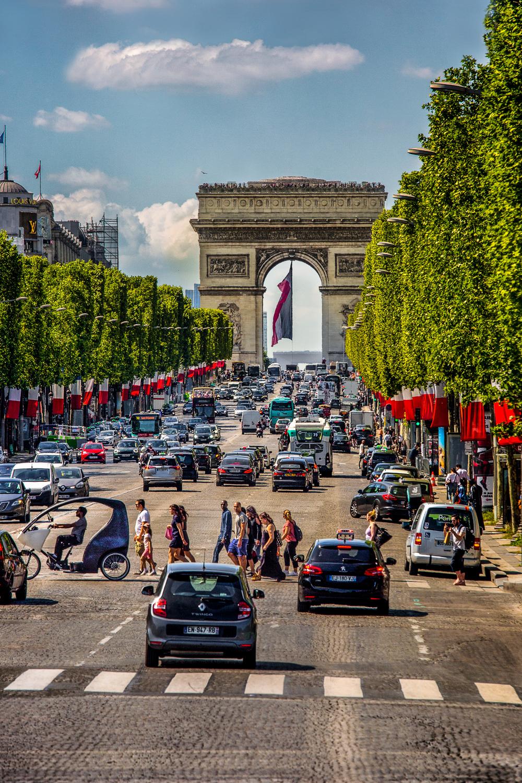 Arc-de-Triomphe And Champs-Elysees Paris, France