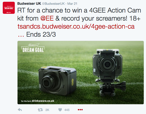 Here, Bud tie in nicely for a giveaway with another huge brand - EE - Genius! Cameras you can film action with and a phone network keen to promote 4G for uploading/streaming. Look at the social reaction... And this will have been seen by EE's followers as well. Relevant. Smart.