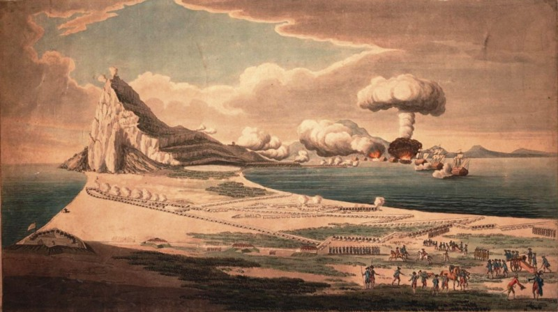 Spanish and French forces besiege Gibraltar (Image courtesy Wikimedia Commons)