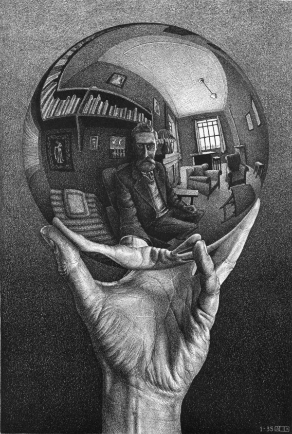 Hand with Reflecting Sphere by M.C. Escher (Wikimedia Commons)
