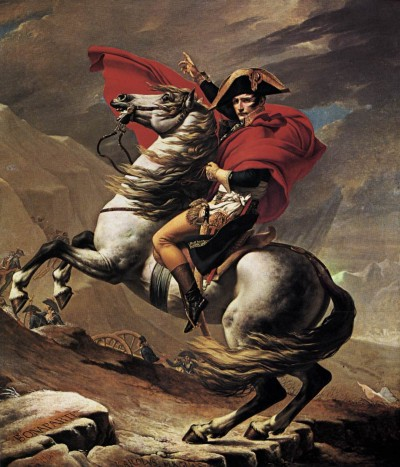 A battlefield genius. Napoleon commands from atop his horse. (Wikimedia Commons)