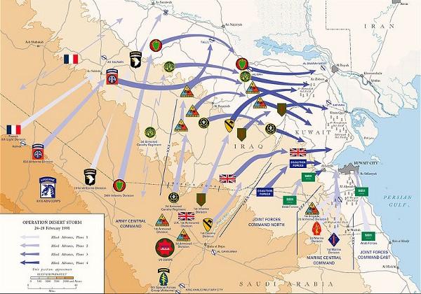 """Desert Storm's """"Left Hook,"""" Image Courtesy: Wikimedia Commons"""