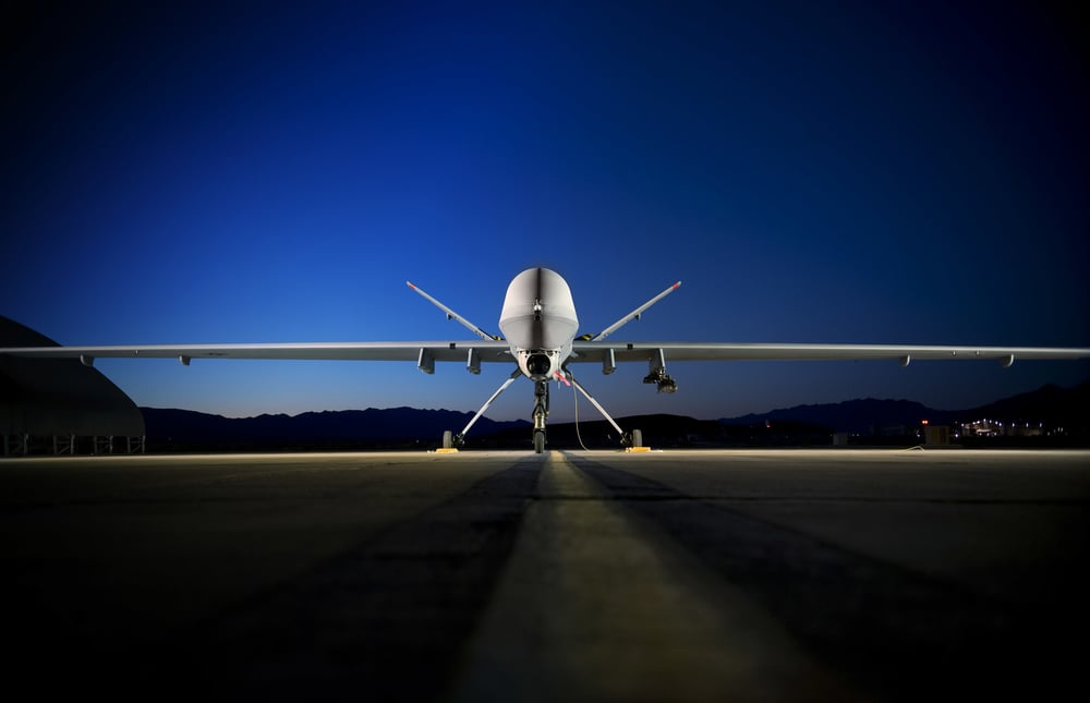 "A MQ-9 ""Reaper"" remotely piloted aircraft sits on the flightline at Creech Air Force Base, NV. Photo by Lance Cheung, USAF (Wikimedia Commons)"