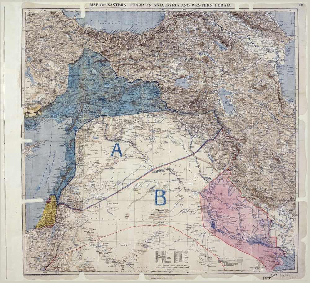 Map of Sykes–Picot Agreement showing Eastern Turkey in Asia, Syria and Western Persia, and areas of control and influence agreed between the British and the French. Royal Geographical Society, 1910-15. Signed by Mark Sykes and François Georges-Picot, 8 May 1916. | Image via Wikimedia Commons.