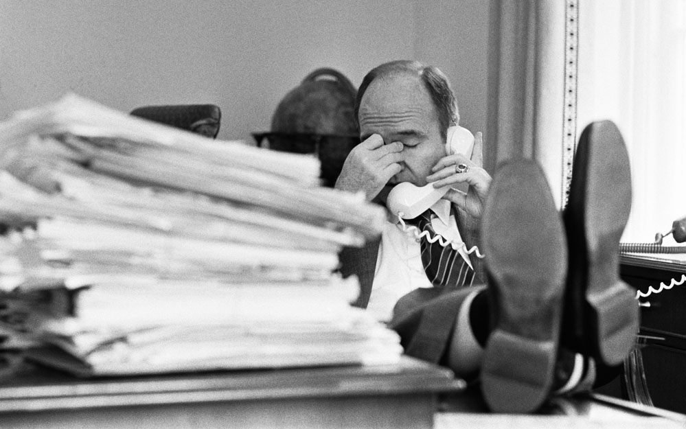 Deputy National Security Advisor Gen. Brent Scowcroft in his White House office, 1968 (Kennerly Archive)