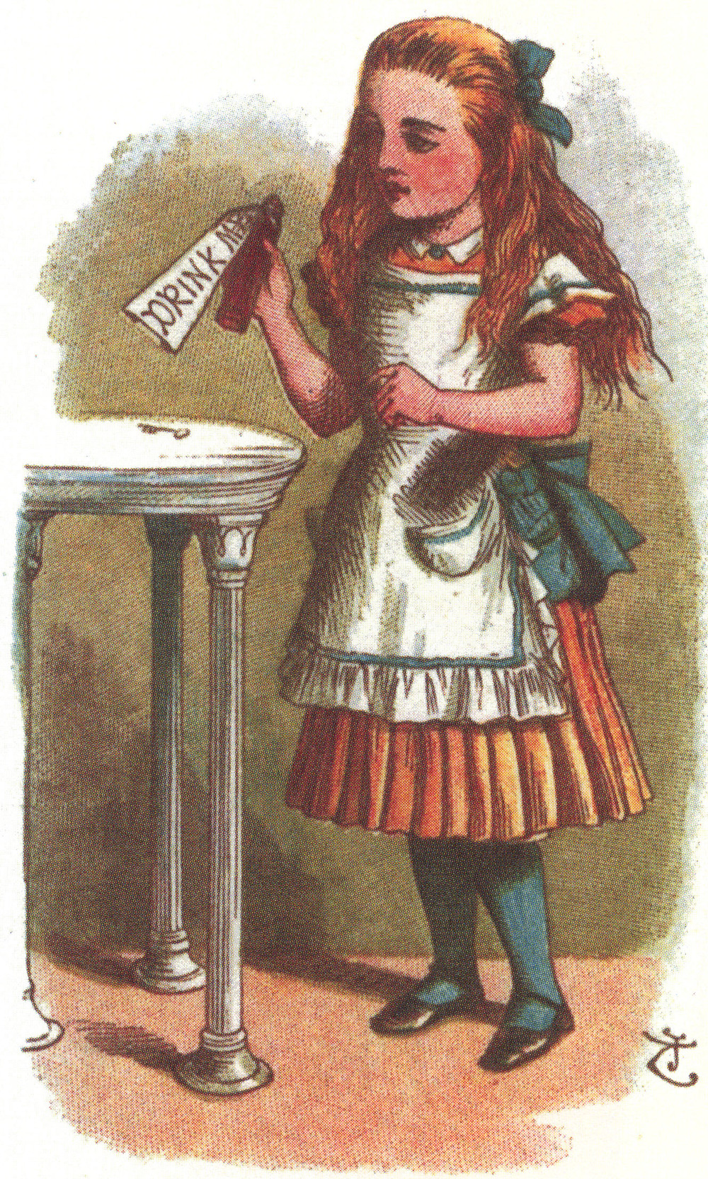 "Alice and a bottle labeled, ""Drink Me,"" John Tenniel, from The Nursery Alice."