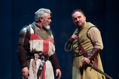 Darrell D'Silva (Siward) and Keith Fleming (Macduff) discuss the dynamics of Scottish politics and war | Photo by KPO Photo