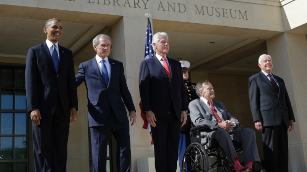 From left, President Barack Obama, George W. Bush, Bill Clinton, George H.W. Bush and Jimmy Carter appear together at a dedication ceremony in Dallas, Texas. April 25, 2013 (David J. Phillip, AP)