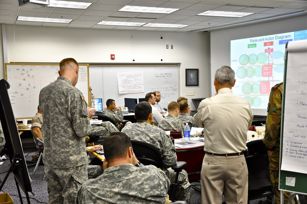 A briefing as a part of the curriculum at the U.S. Army School of Advanced Military Studies, Fort Leavenworth, Kansas. (Noah Albro / Fort Leavenworth Public Affairs Office)