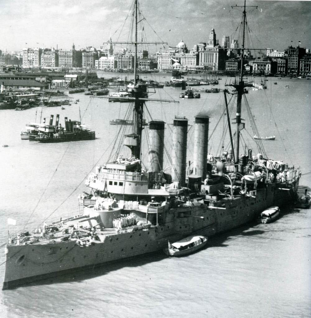 The Japanese cruiser Izumo in Shanghai in 1937. (Public Domain)