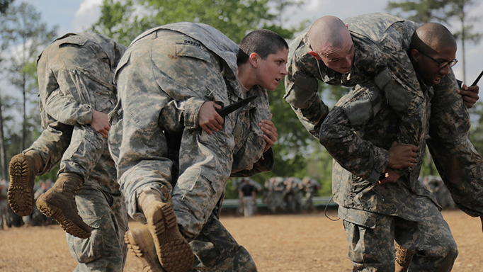 U.S. Army Capt. Kristen Griest participates in training at Ranger School on April 20, 2015 at Fort Benning, Ga. (U.S. Army Photo)