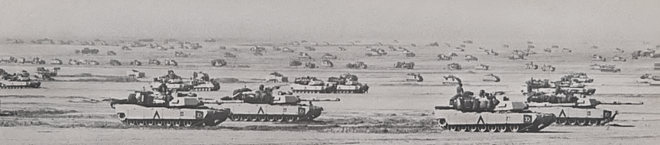 One Brigade of the U.S. 3rd Armored Division masses in northern Saudi Arabia in preparation for the invasion of Iraq during Operation Desert Storm, February 1991. (U.S. Army photo)