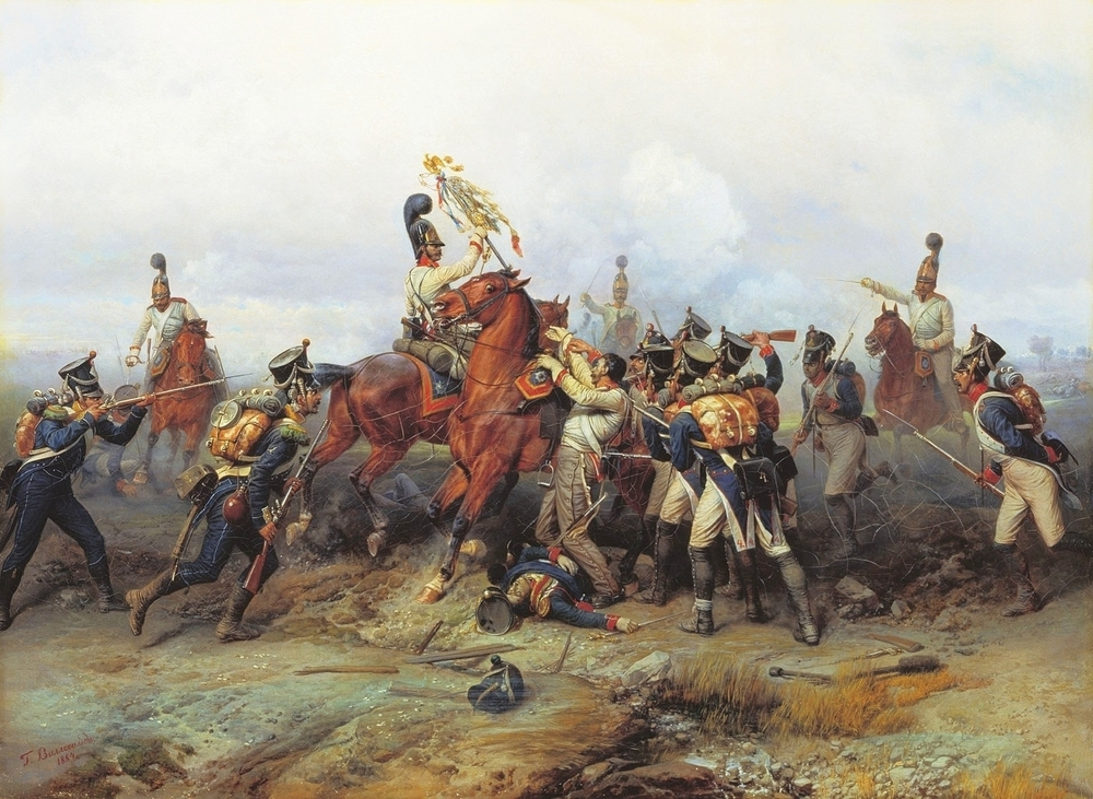 Capture of a French regiment's eagle by the cavalry of the Russian guard at Austerlitz. (Public Domain)