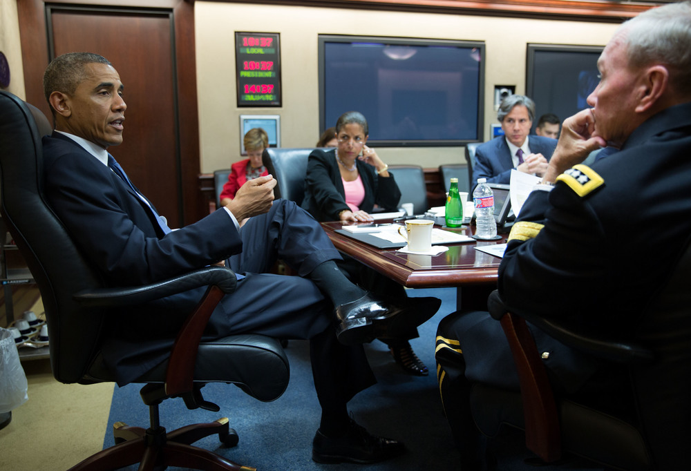President Barack Obama meets with his national security advisors in the Situation Room of the White House, Aug. 7, 2014. (Official White House Photo)