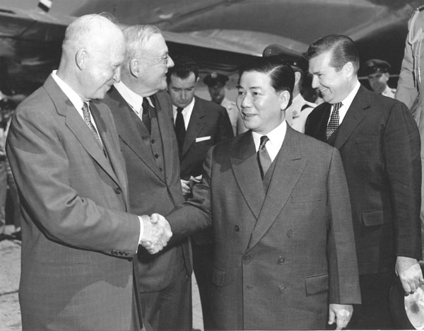 "President Dwight D. Eisenhower welcomes President Ngo Dinh Diem to the United States in May 1957. During his visit Diem addressed a joint session of Congress and got a ticker tape parade in New York City. Eisenhower called Diem the ""miracle man of Asia.""  Photo courtesy of The National Security Archive ."