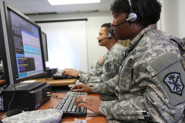 Soldiers, with U.S. Army Cyber Command's 780th Military Intelligence Brigade, take part in network defense training. (U.S. Army Photo)